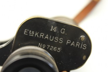M.G Ets Krauss Paris military glass in a quiver with compass u. Reticule