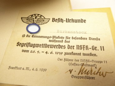"Badge NSFK ""2nd International Air Race NS - Fliegerkorps Frankfurt a.M. 1939"" in a case with certificate"