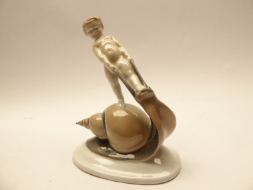 Rosenthal - Colored porcelain figure, boy on snail, signed