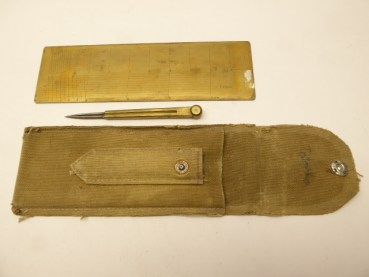 Artillery - brass ruler + compass in pocket