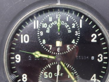Russian aviator chronograph + time zone - 14 days movement - incl. Stand