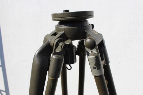 BW Bundeswehr, tripod S2 with aiming rod in leather case for Carl Zeiss Optik Richtkreis / Theodolite type RK 76 A1