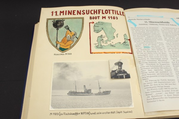 Kriegsmarine coat of arms of the minesweeper M 1103 of the 11th MG Flottillie