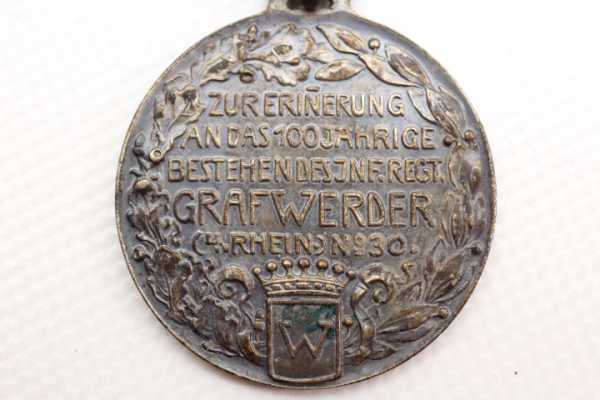 "Silver-plated bronze medal ""Graf Werder"" infantry regiment medal on a single ribbon clasp"
