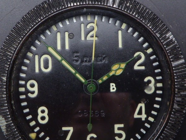 Russian built-in clock for aircraft, tanks or trucks, including stand.