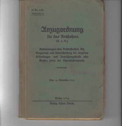 ww2 German H. Dv. 122. Suit regulations for the Reichsheer (H.A.O.). Section D. Suit Regulations