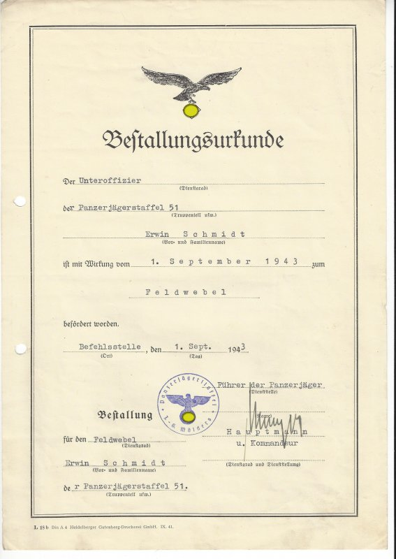 WW2 certificate of appointment of tank destroyer Mölders