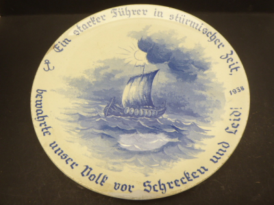 Souvenir - plate 1938 - a strong leader in stormy times - ceramics